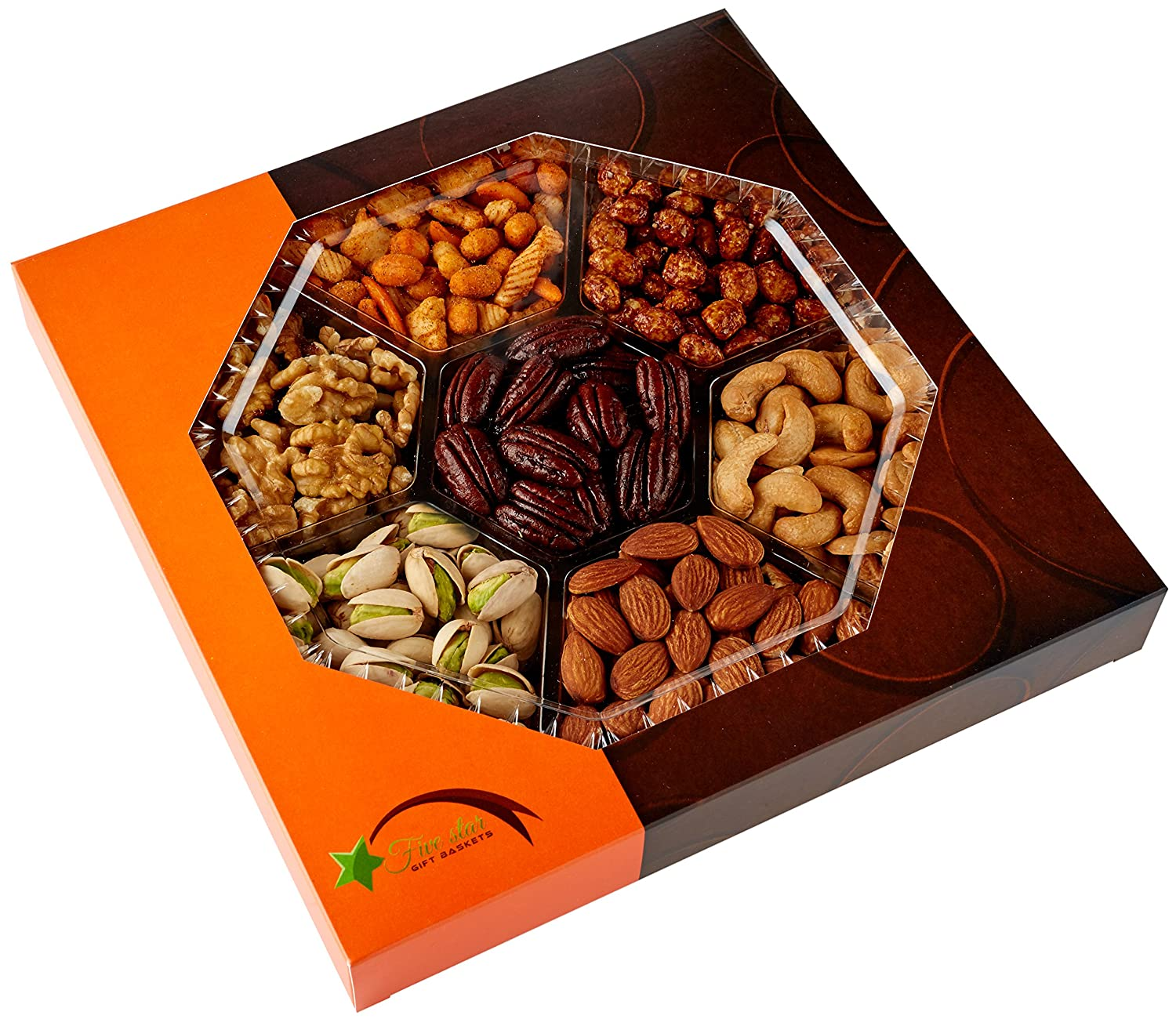 Five Star Gift Baskets Holiday Gourmet Food Nuts Gift Basket, 7 ...