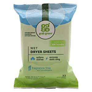 Grab Green Natural Wet Dryer Sheets, Unscented/Free & Clear, Fabric Softener & Static-Reducer, 64 Loads, Reusable & Compostable, Fragrance Free (6 Pack)