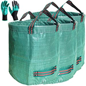 Standard 3-Pack 32 Gallons Garden Yard Bags with Coated Gardening Gloves - X Large Reusable Leaf Bags Standable Gardening Grow Pots Plant Bags Trash Containers for Lawn and Yard Waste bags,4 Handles