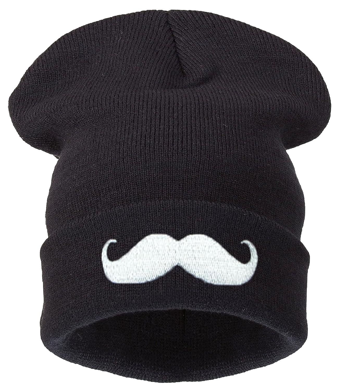 4sold – Bonnet – Homme noir Noir Taille universelle noir mustache Taille universelle