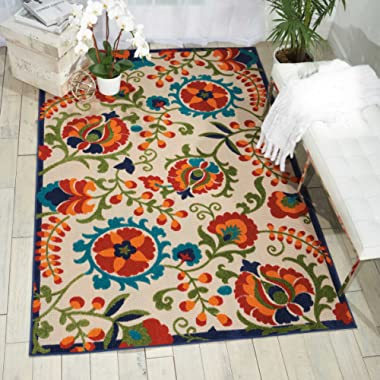 Nourison Aloha  Multicolor Indoor/Outdoor Area Rug  5 feet 3 Inches by 7 Feet 5 Inches, 5'3 X7'5