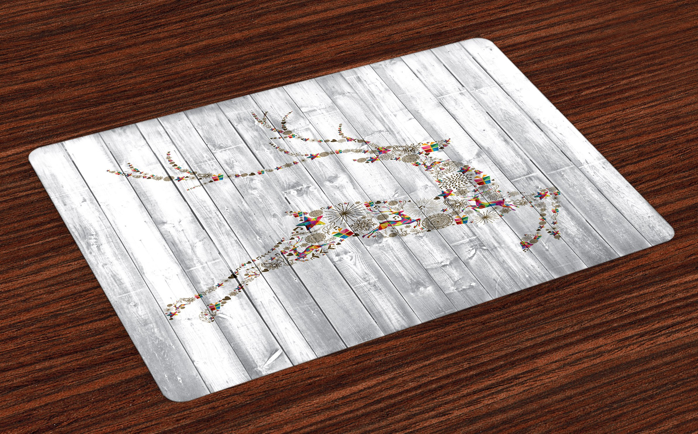 Ambesonne Deer Place Mats Set of 4, Colorful Animal Silhouette with Various Artistic Christmas Elements Wooden Planks, Washable Fabric Placemats for Dining Room Kitchen Table Decor, Grey Multicolor