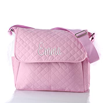 Personalized Diaper Bag With Changing Pad For Baby Girls Pink
