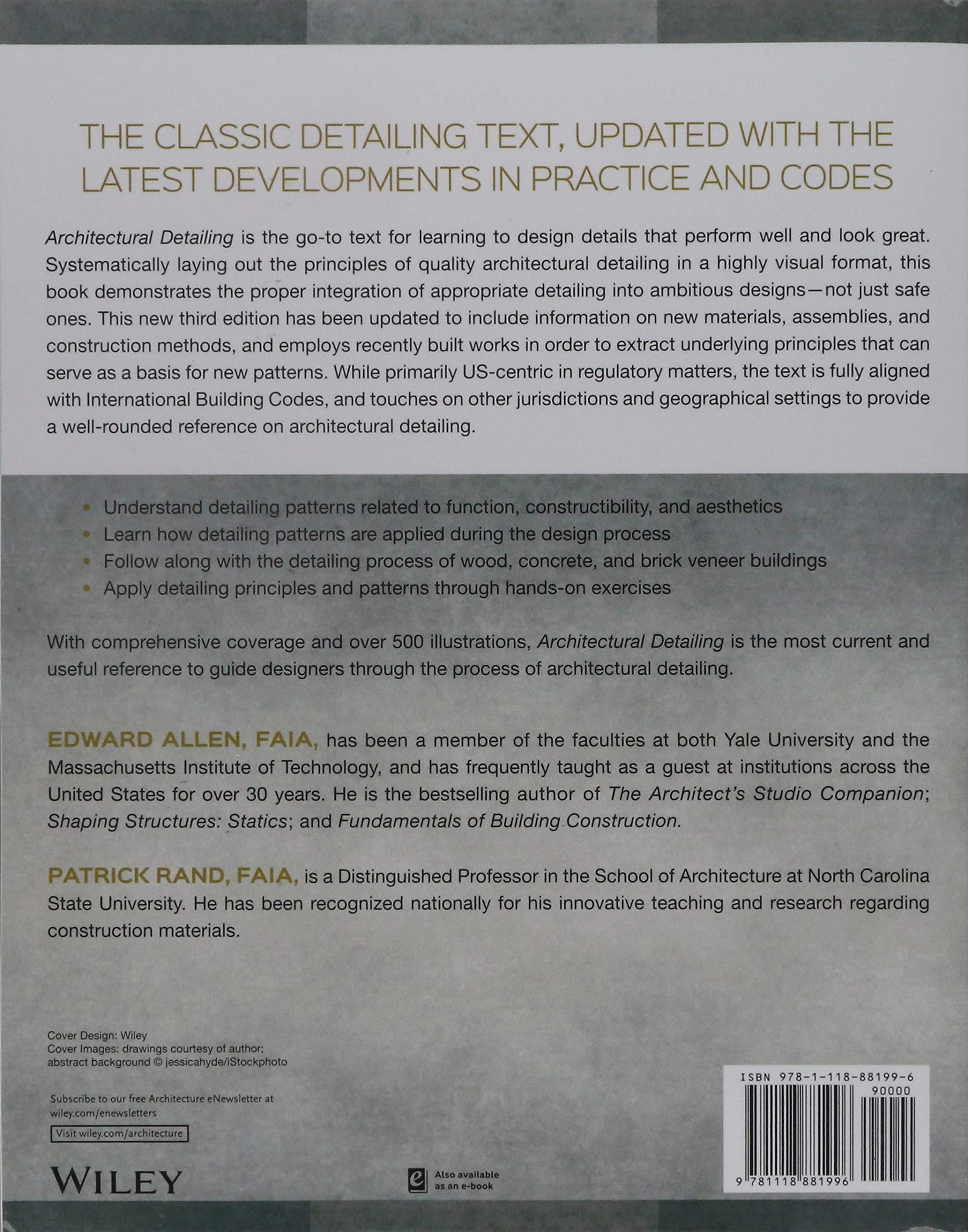 Architectural Detailing: Function, Constructibility, Aesthetics, 3rd  Edition: Amazon.co.uk: Edward Allen: 9781118881996: Books