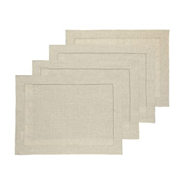 Solino Home Hemstitch Linen Placemats - Natural Set of 4, 14 x 19 Inch 100% European Flax Natural Fabric - Machine Washable Placemats - Handcrafted with Classic Hemstitch & Mitered Corners