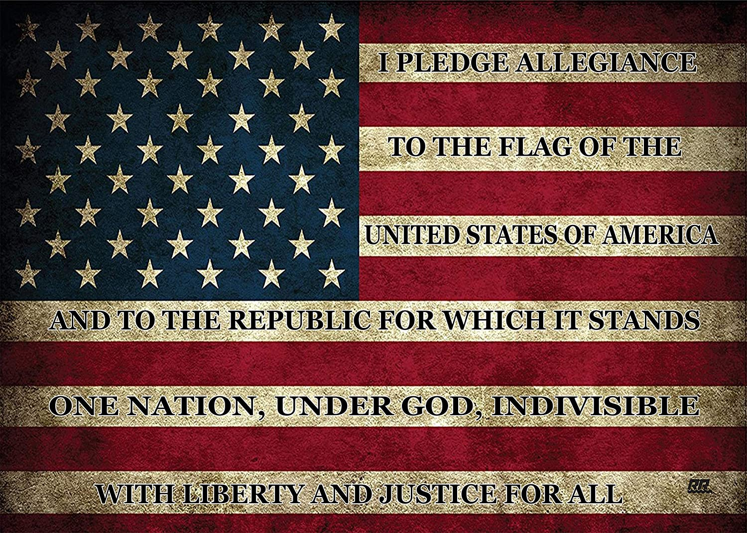 Rogue River Tactical Large USA Flag Pledge of Allegiance Rustic Canvas Print Wall Decor US Patriotic Art Decoration 20x16 Inch