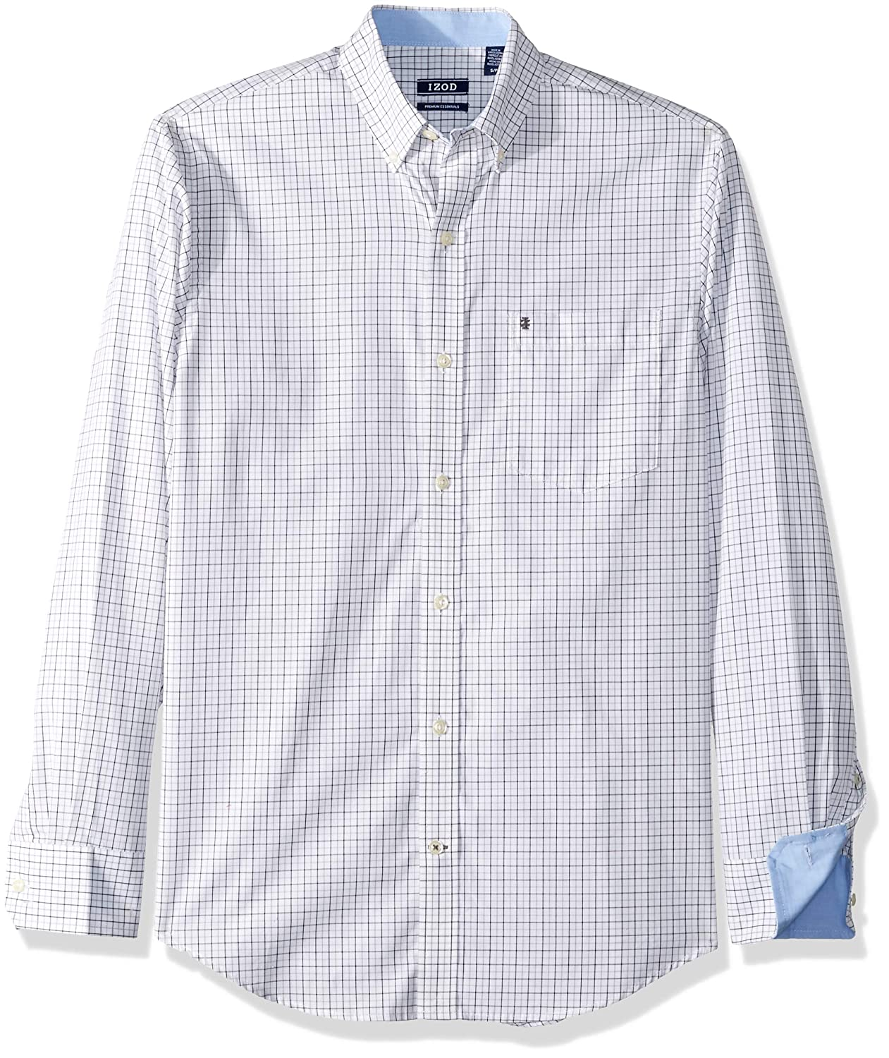 IZOD Mens Button Down Long Sleeve Stretch Performance Tattersal Shirt