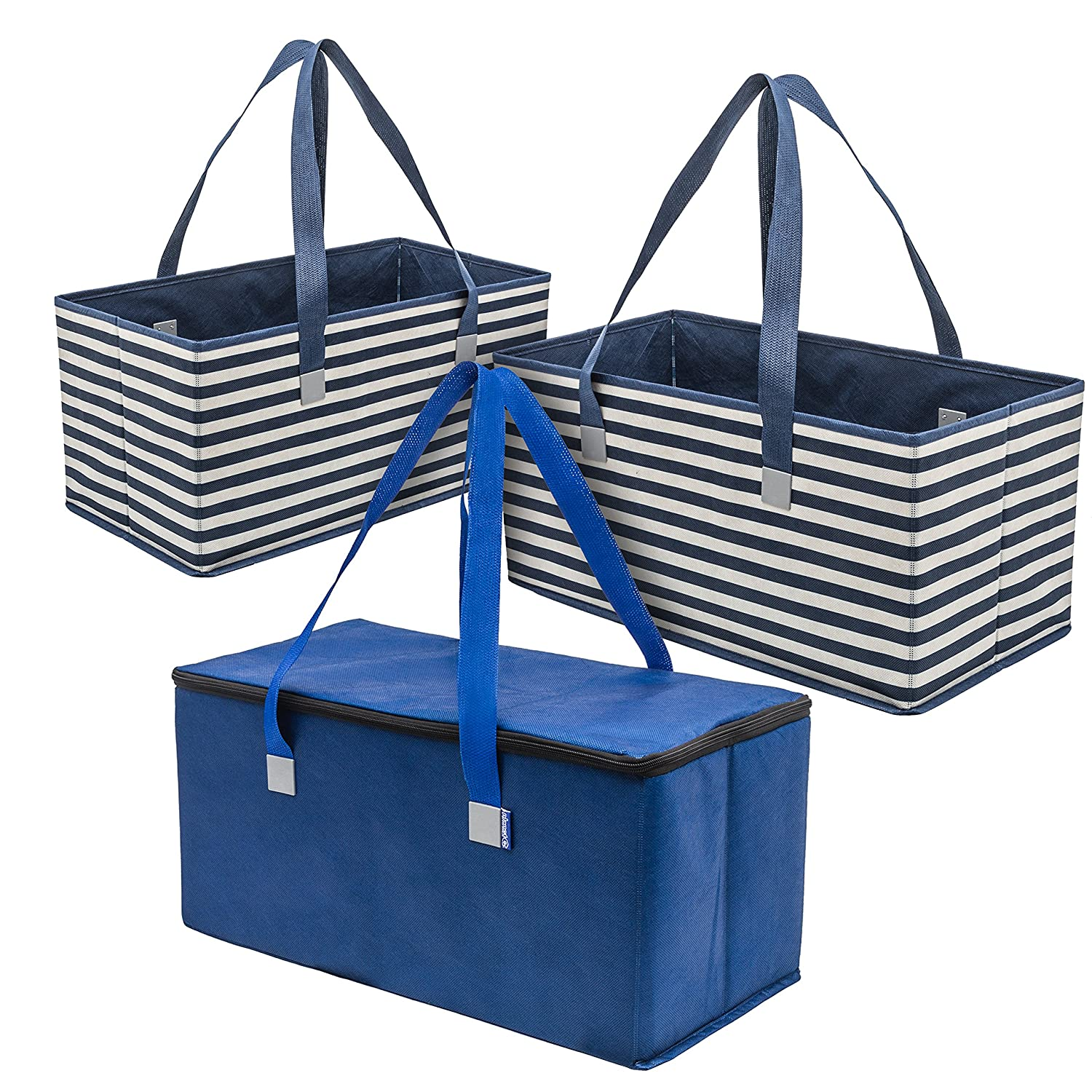 Planet E Reusable Grocery Shopping Bags – Large折りたたみボックスwith Reinforced Bottomsリサイクルプラスチック製(パックof 3 ) ブルー H1292_S3_AST B074QT8YCH Navy Stripe & Solid Navy Stripe & Solid