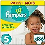 Pampers - Premium Protection - Couches Taille 5 (11-23 kg /Junior) - Pack Economique 1 Mois de Consommation (x136 couches)
