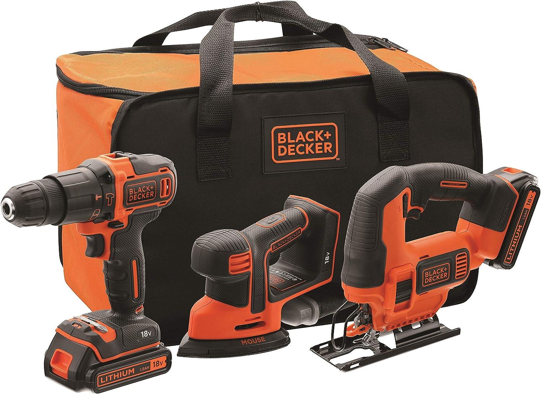 BLACK+DECKER BCK31S1S-QW - Kit de taladro percutor, lijadora de detalles Mouse y sierra de calar 18V con 2 baterías de litio 1.5Ah, cargador y bolsa de transporte