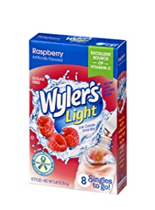 Wyler's Light Singles To Go Powder Packets, Water Drink Mix, Raspberry, 0.41 Oz (Pack of 12)