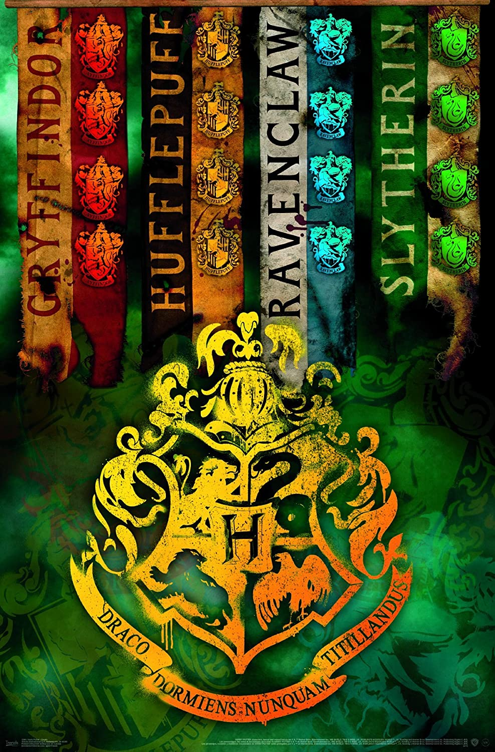 """Trends International Harry Potter - Crests Wall Poster, 22.375"""" x 34"""""""
