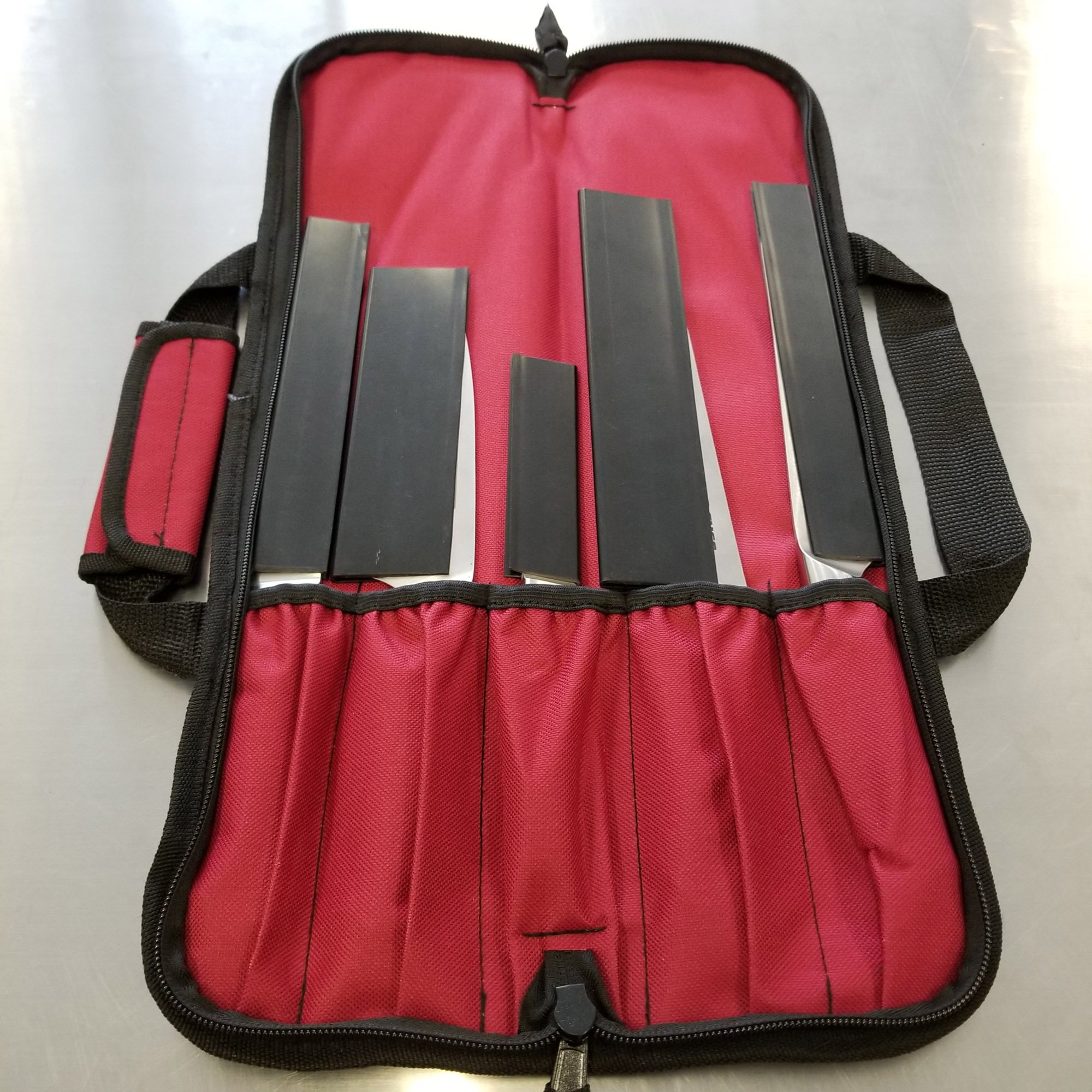 5 Pocket Padded Chef Knife Case Roll with 5 pc. Edge Guards (Red 5 Pocket bag w/5pc. Black Edge guards) by Ergo Chef (Image #5)