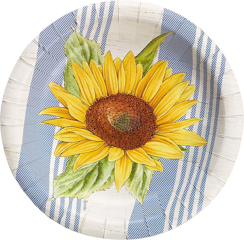 Portmerion Botanic Garden Sunflower Small Disposable Paper Plates, 8'' D, 8pcs