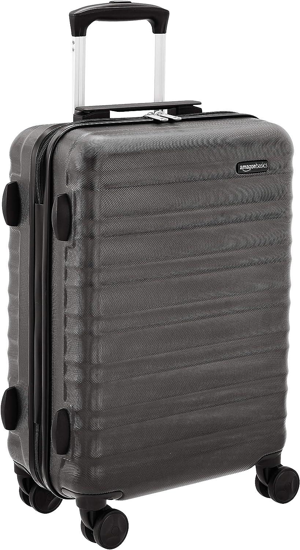 AmazonBasics - Maleta rígida con ruedas, 55 cm, tamaño para cabina, negro, apto para la mayoría de las aerolíneas de bajo coste