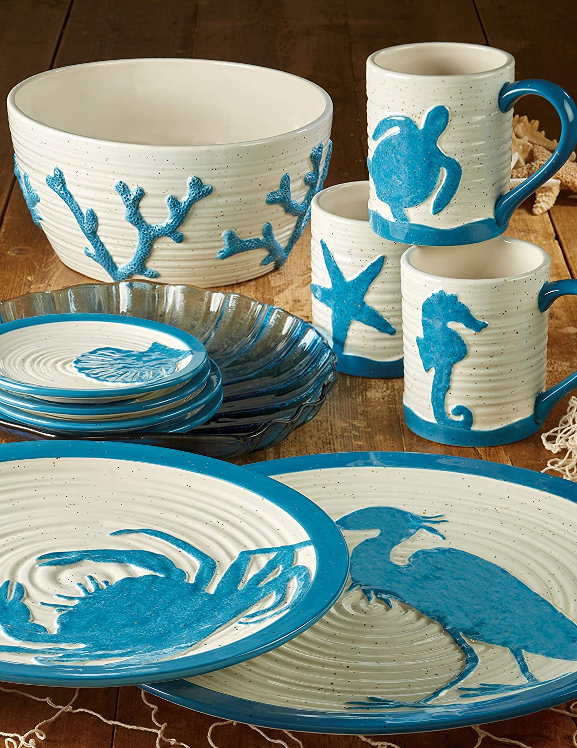 Certified International 26875SET4 Natural Coast Dinnerware Dishes Multicolored