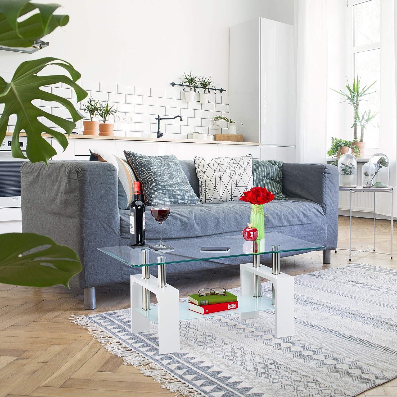 Rettangolare metallo Nero Effetto Legno Tavolo da Divano 2 Ripiani in Vetro relaxdays Tavolino da Salotto 1 pz pannelli MDF 43x99,5x49,5 cm