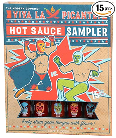 Thoughtfully Gifts, Hot Sauce Book Gift Set, Hot Sauce Sampler Includes Unique Flavors Like Smoky Bourbon and Garlic Habanero Hot Sauce, Set of 15