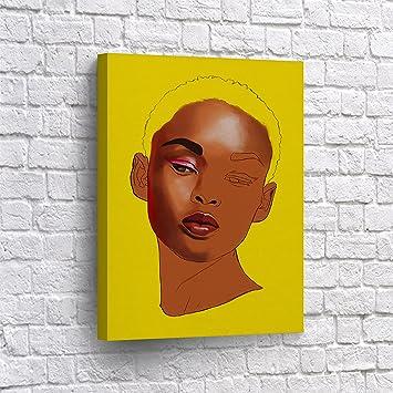 Amazon.com: BUY4WALL Half face of African American Girl Wall Art ...
