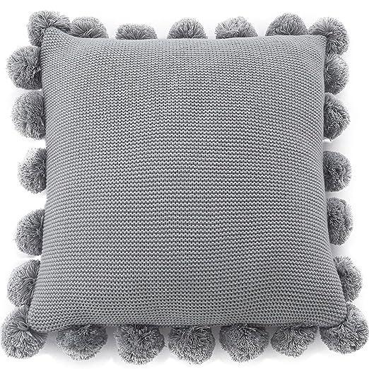 Suave sólido hecho a mano lana para tejer Decor cojín para ...