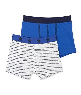 c2d32ad50b29 Amazon.com: Petit Bateau Boys' 2 Pack Solid and Striped Boxers: Clothing