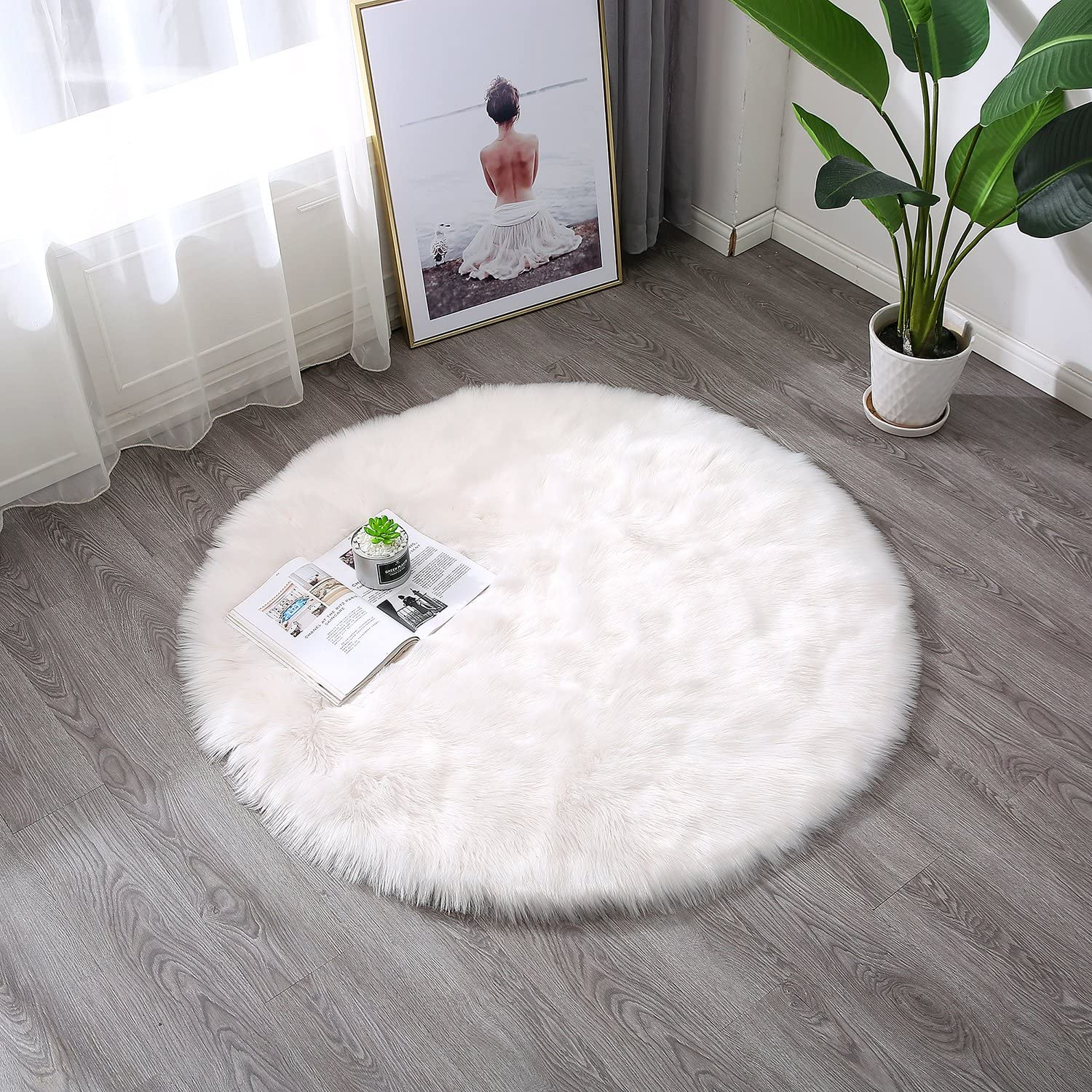 4//120x120cm Round Desk Rug Townssilk White Faux Sheepskin Fur Fluffy Area Rug Chair Cover Seat Pad Plain Shaggy Area Rugs For Bedroom Sofa Floor home Decorator Carpets Kids Play Rug Whi