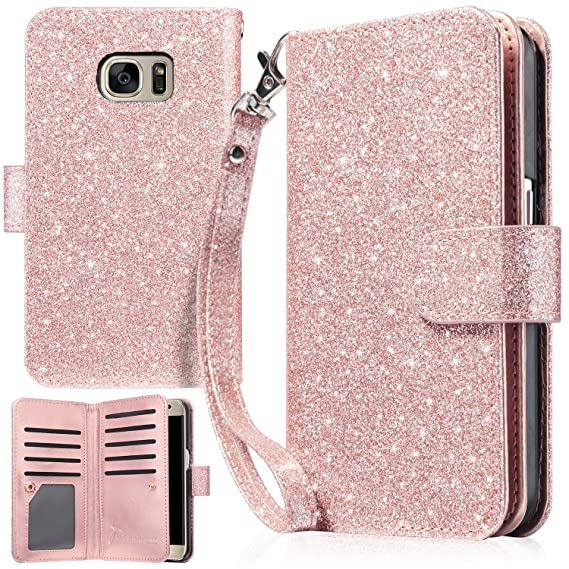 info for 064b5 aae27 UrbanDrama Case for Galaxy S7, S7 Wallet Case Sparkly Glitter Hand Wristlet  Magnetic Snap Closure Folio PU Leather Kickstand Magnetic Cash &Card Slot  ...