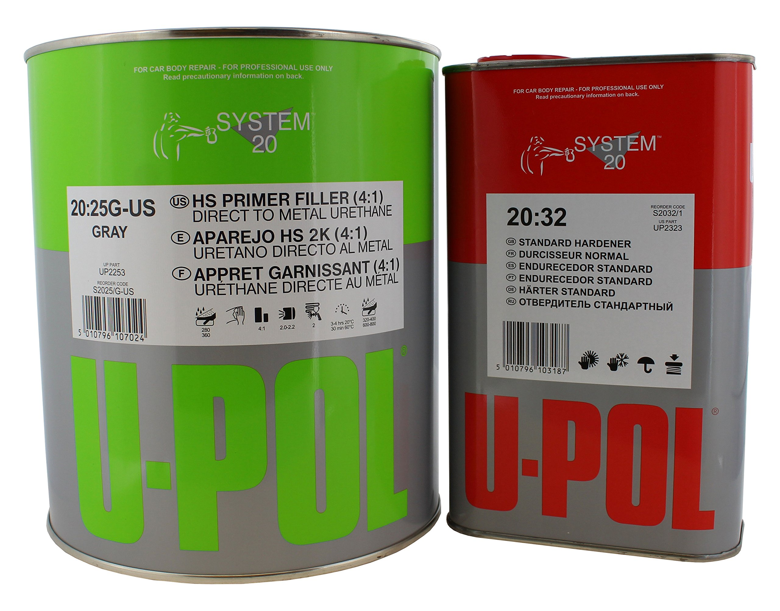U-POL 1 Gallon (4.2 VOC) High Solids High Build Urethane Primer Kit with Standard (60 to 95 F) Temperature Hardener by U-Pol