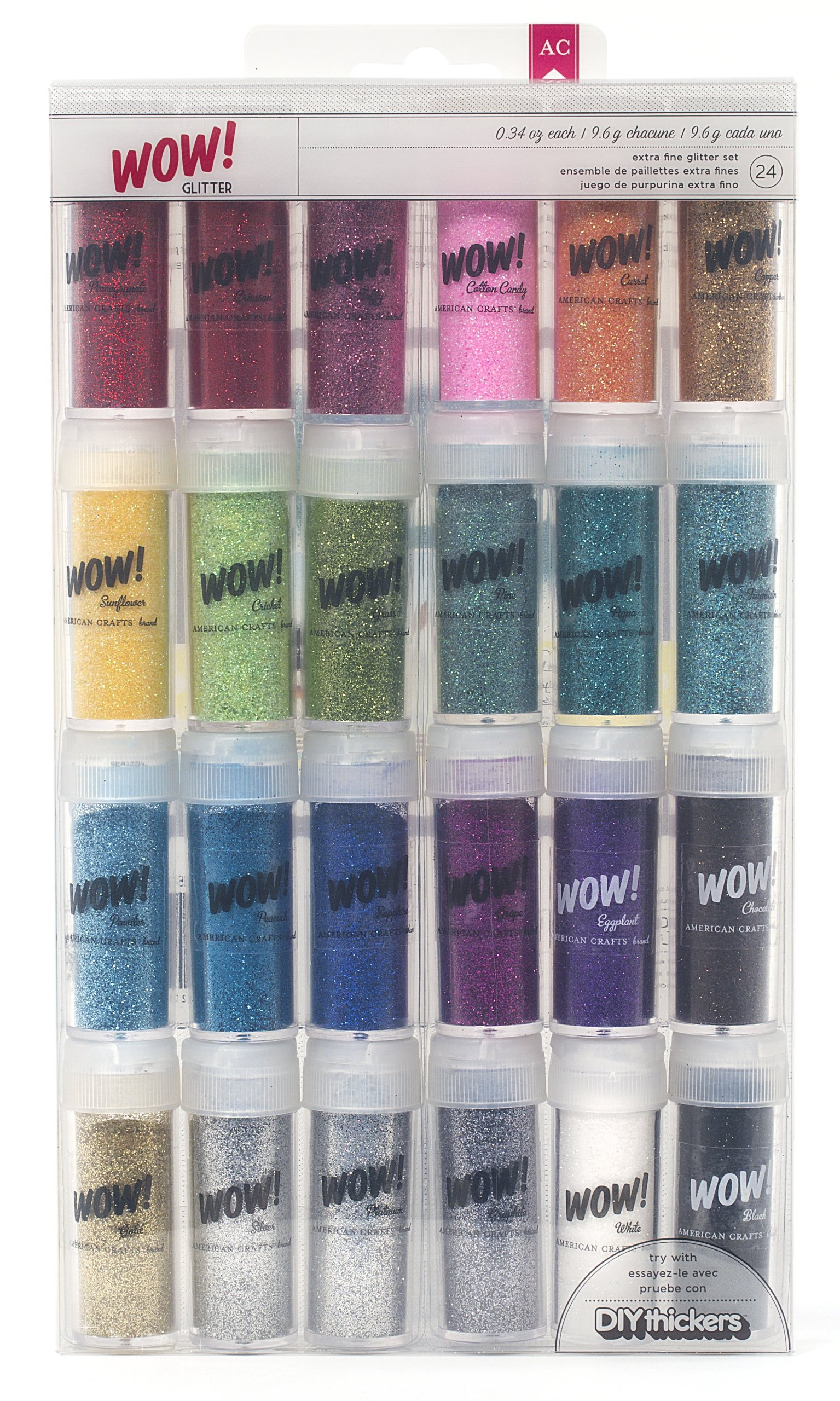 Wow! Extra Fine Glitter by American Crafts | 24-pack, multi-colored