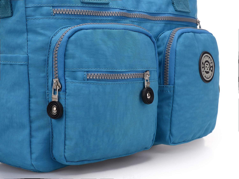 Bleu-1 Popoti Sacs /à Main Nylon Sac Messager Crossbody Bag Fourre-Tout Sac Imperm/éable Multi-Poches Besace Loisir Grande Voyage Scolaire Shopping Sac /à Bandouli/ère pour Femme