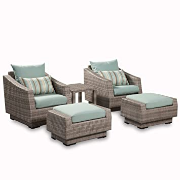 RST Brands 5 Piece Cannes Club Chair And Ottoman Patio Furniture Set, Bliss  Blue