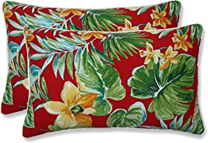 "Pillow Perfect Outdoor/Indoor Beachcrest Poppy Lumbar Pillows, 11.5"" x 18.5"", Red, 2 Pack"
