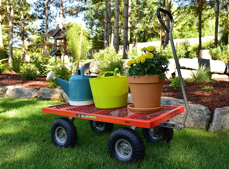 Gorilla Carts Carros de Gorila Utilidad de Acero Carro con Extraíble Lados con una Capacidad de 800 kg, Rojo: Amazon.es: Jardín