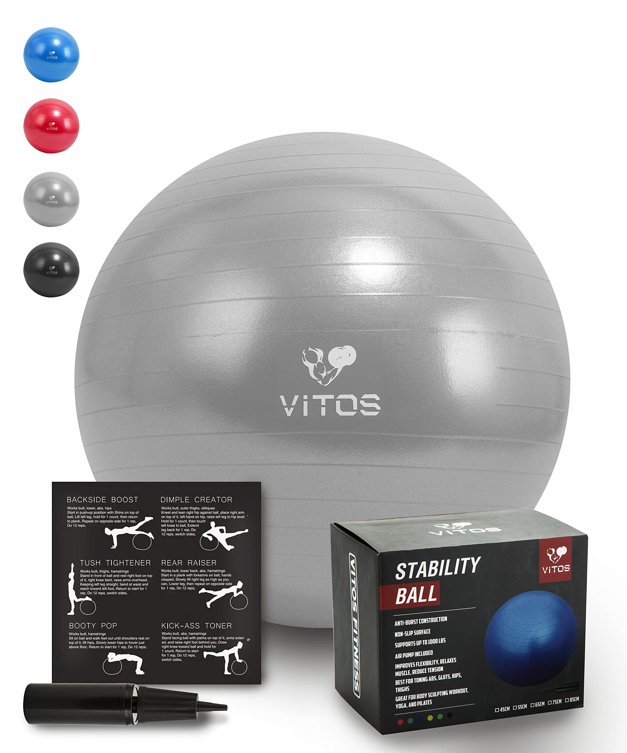 Vitos Fitness Anti Burst Stability Ball Extra Thick Non Slip Supports 2200LB for Fitness Exercise Birth Balance Yoga Workout Guide Quick Pump Included Professional Quality Design (Silver, 75 cm) by Vitos Fitness