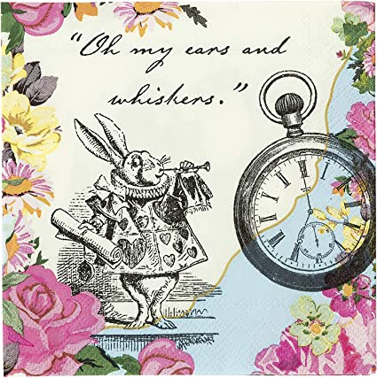 Amazon Com Talking Tables Alice In Wonderland Cocktail Napkins Mad Hatter Tea Party 9 75 X 9 75 Inch Pack Of 20 Kitchen Dining