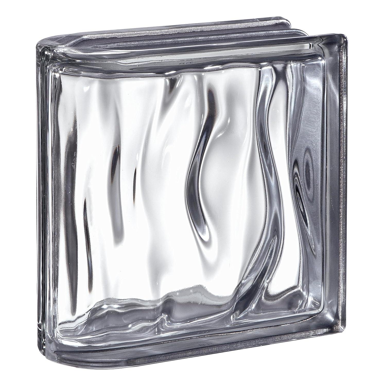 1 pieza BM bloque de vidrio AGUA reflejo antracita 19x19x8 cm - Terminal recto horizontal Fuchs Design