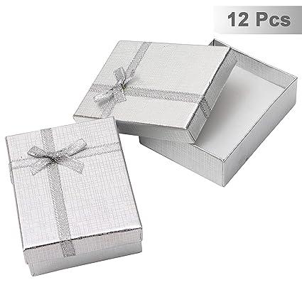Pack de 12 Cajas para Joyas Anillo Collar con Inserto de Terciopelo por Kurtzy - Cajas de Presentación de 8,5 x 6,5 x 2,5cm - Diseño de Lazo y Cinta - ...