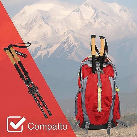 TurnerMAX 2 x 3 sezioni Antishock Telescopico Escursionismo Trekking Coppia Bastoni Bastoni 65-135 cm