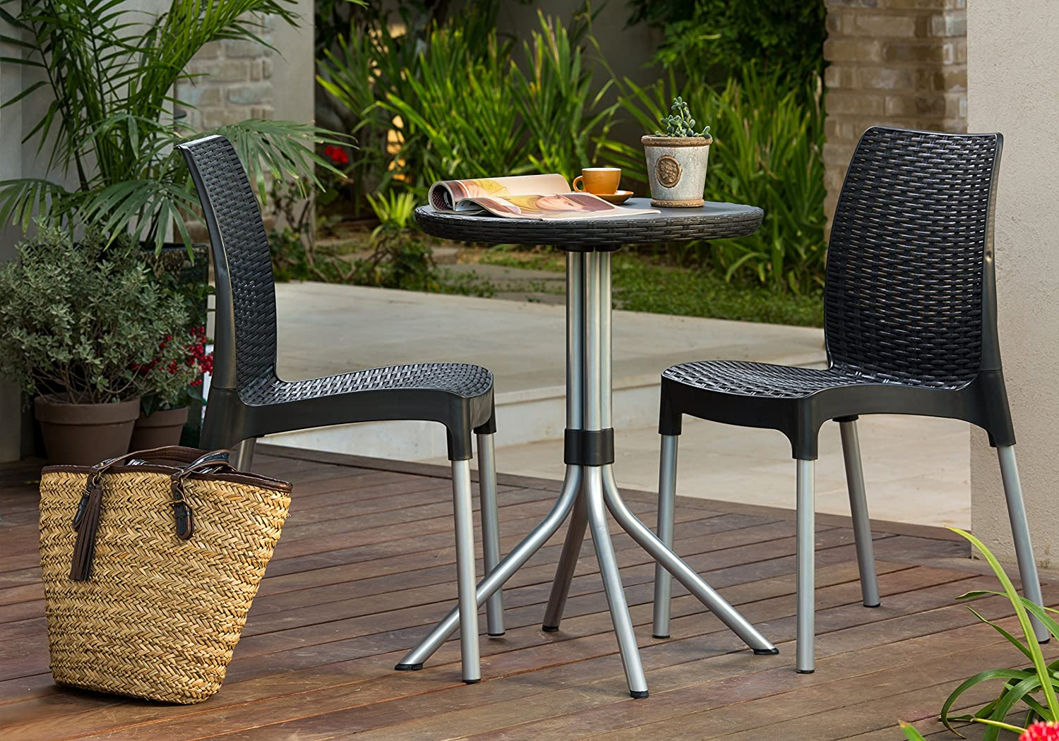 amazoncom keter chelsea 3 piece resin outdoor patio furniture dining bistro set with patio table and chairs charcoal garden outdoor - Garden Furniture 3 Piece