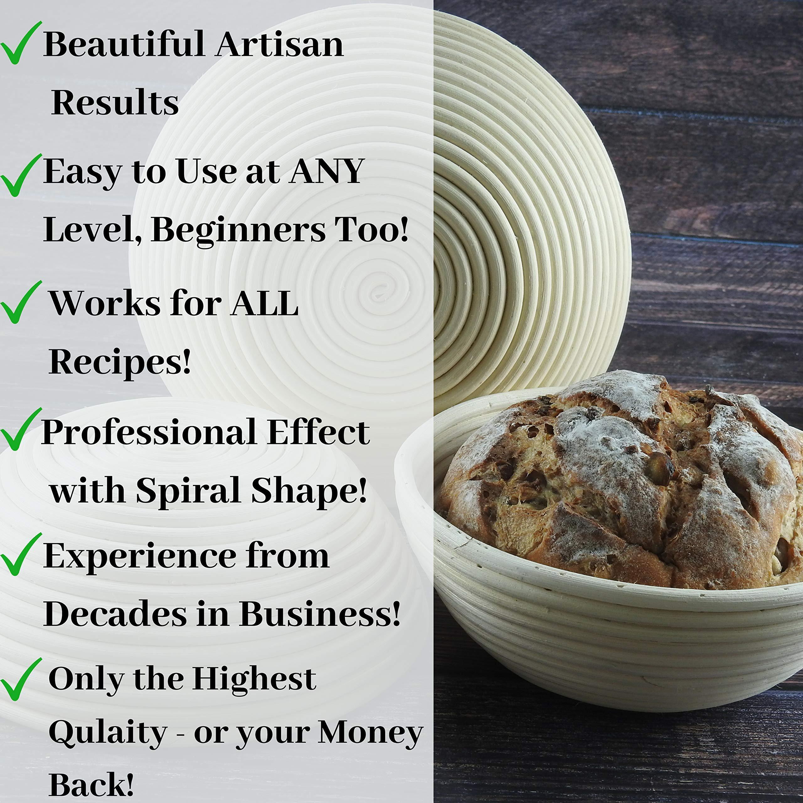 KIT 10 Inch Bread Basket Sourdough Starter - Banneton Proofing Basket, Dough Scraper, Bread Lame, Liner & FREE EBOOK - Bread Proofing Basket for Bread Baking Supplies, Bread Making Tools by PremiumBake (Image #4)