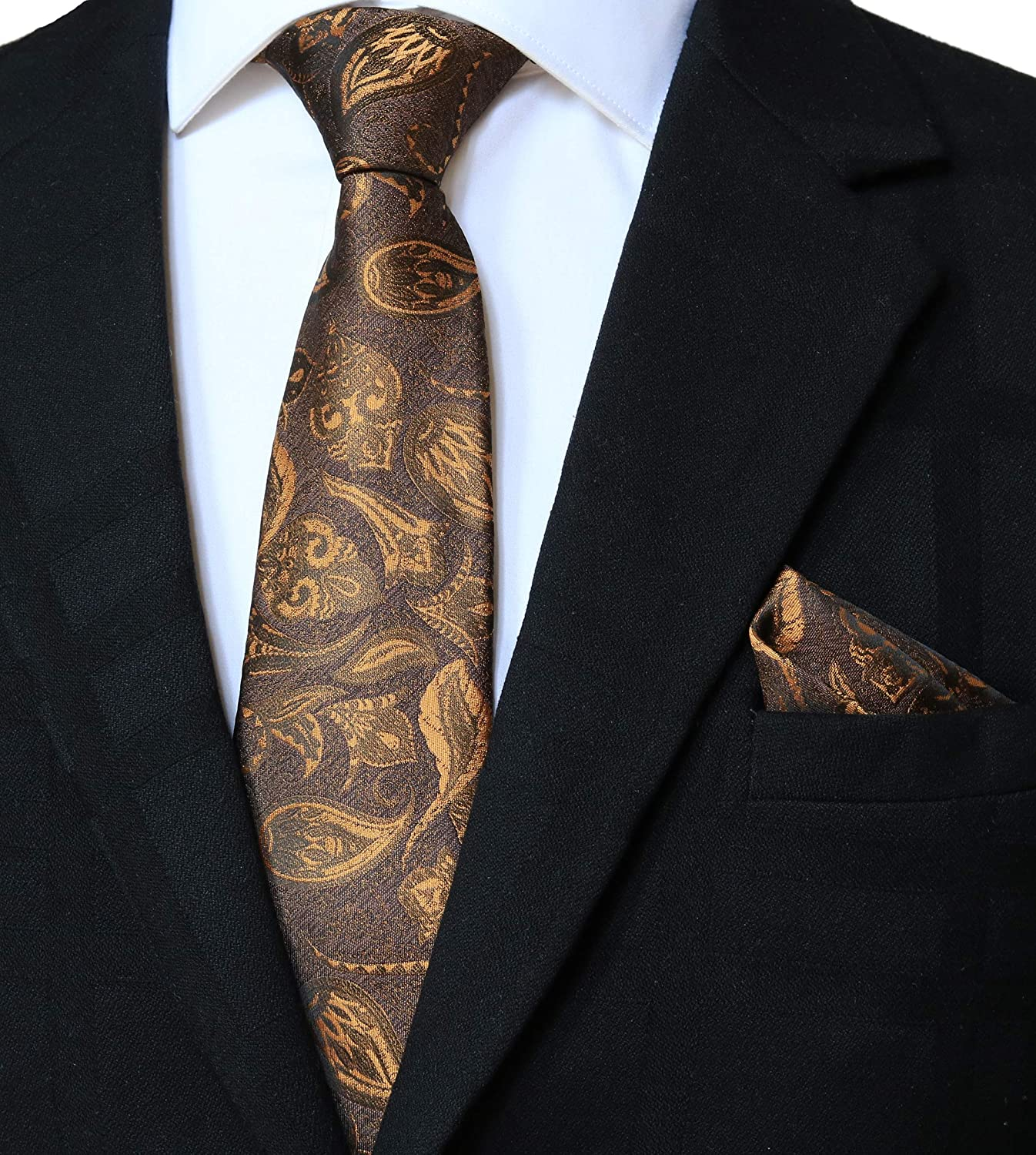 NEW MEN/'S 100/% SILK MEN/'S NECK TIE /& POCKET SQUARE HANKIE SET BROWN WEDDING PROM
