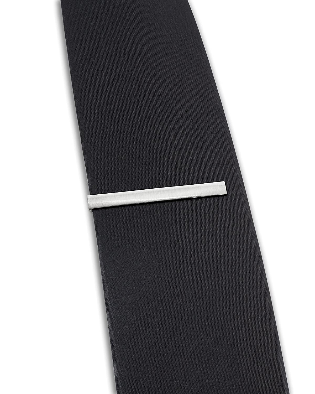 Deluxe Gift Box The Executive Tie Bar Clip Brushed Silver Tone with Premium Pinch Clasp