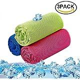 SKL 3 Pack Refrigeración Toalla, Cooling Towel para Golf Fútbol Corriendo Entrenamiento Natación Yago y Más (Rosa, Verde, Azul, 36 x 12 inch)