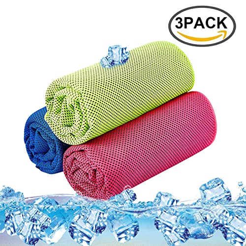 SKL Cool Towel 3 Pack Instant Cool Ice Towel Gym Quick Dry Towel Microfibre Towel Cooling Sports Towel for Golf Swimming Yago Football