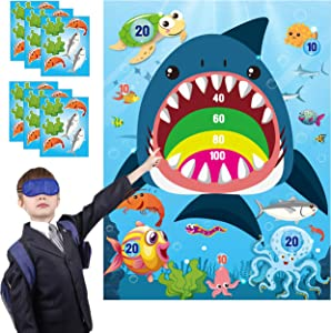 WATINC 36pcs Shark Party Sticker Game, Pin The Marine Organism On The Shark Poster for Kids Birthday Party Game, Shark Theme Party Favors Supplies for Kids, Under The Sea Ocean Party Decoration