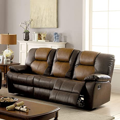 Amazon Com Furniture Of America Carmez Two Tone Brown Leather
