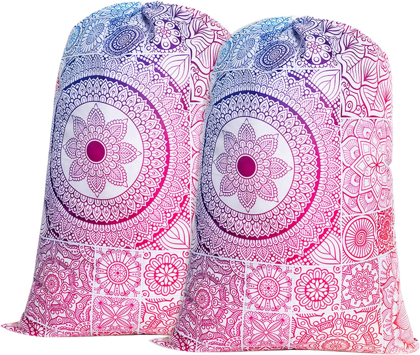 "Nidoul 2 Pack Extra Large Laundry Bag, Mandala Heavy Duty Travel Laundry Bag, Drawstring Closure Dirty Clothes Bag, Durable Rip-Stop Bag for Camp Dorm, Machine Washable 24"" x 36"""