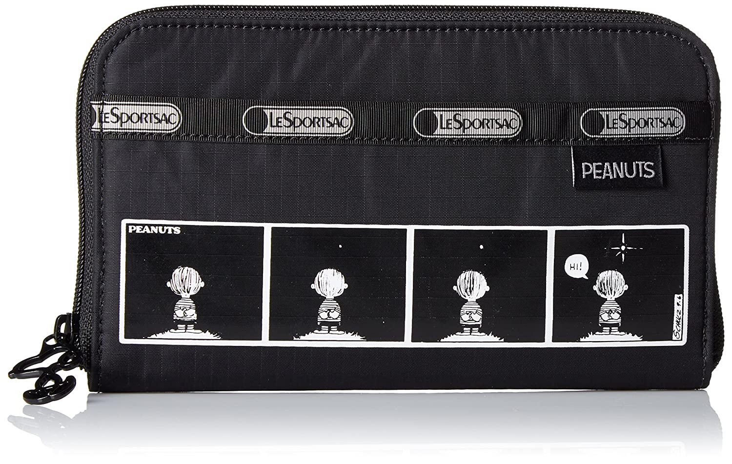 Comic Strip LeSportsac Lily Wallet, Black Crinkle Patent, One Size