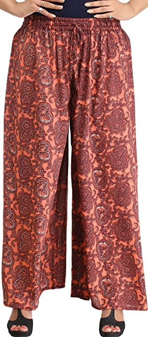 Exotic India Burnt-Coral Casual Printed Palazzo Pants - Orange