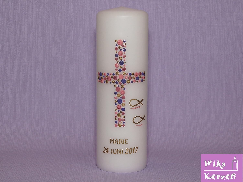 Taufkerze Kommunionkerze M/ädchen Junge mit Name und Datum 25x8cm mm Taufe Kerze Kreuz-Kreise-2 Flieder Rosa Gold